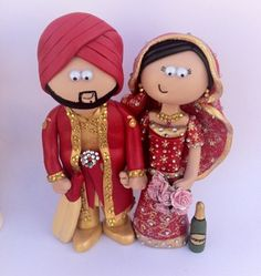 Colourful personalised Indian Wedding Cake Topper - I can make anything you want! www.googlygifts.com