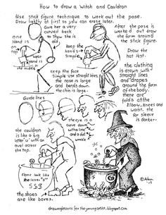 How to Draw Worksheets for The Young Artist: How To Draw A Witch And Cauldron Worksheet