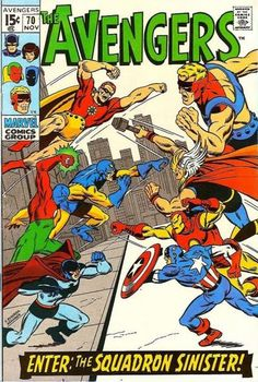 The Avengers vs the Squadron Sinister. Sal Buscema cover. #Avengers #Squadron Sinister. #SalBuscema