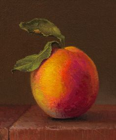 """""""Hand-picked Peach with Leaves"""" Original Oil Painting by Abbey Ryan #Realism"""