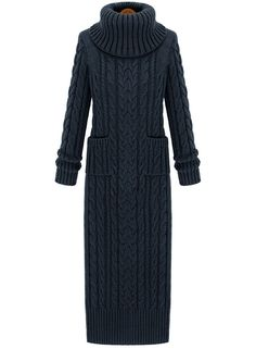 Dark Grey High Neck Split Cable Knit Sweater Dress - Sheinside.com
