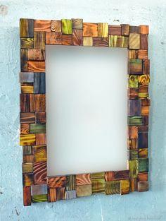 Wood Wall Decor, Metal Wall Art, Wood Art, Scrap Wood Projects, Diy Projects, Diy Arts And Crafts, Wood Crafts, Wood Mirror, Mirror Mirror