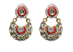 Traditional red drop earring for women