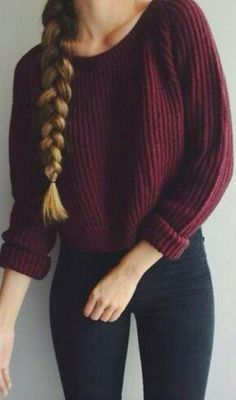 Cozy burgundy knit for cold winter days