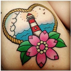 Lighthouse by Sophie Adamson Junior Tattooist at Art and Soul Tattoo, Plymouth Uk. For design enquiries, Contact me: sophie.adamson@hotmail.co.uk