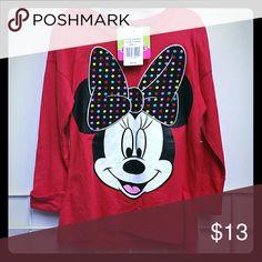 Disney Minnie tee Nwt New long sleeve red  runs long Disney Shirts & Tops Tees - Long Sleeve