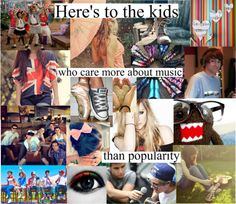 """Heres to the kids who care more about music than popularity"" by theamazingneon ❤ liked on Polyvore"