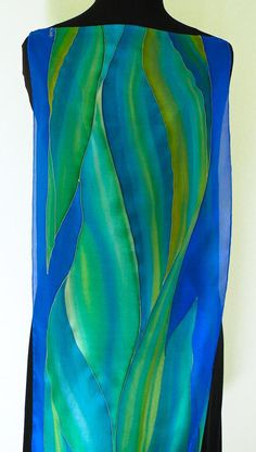 Silk scarf Hand Painted Blue green emerald Art Deco