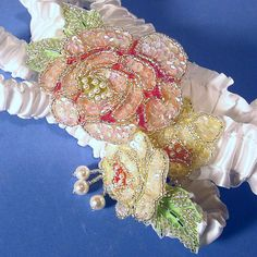wedding garter set Victorian roses pastel pink green yellow