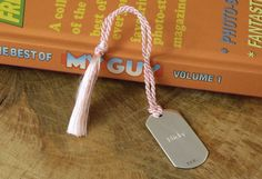 Solid Silver Dog Tag Bookmark