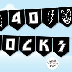 Born to Rock Banner Rock n' Roll Party Banner Template Printable Banner, Banner Template, Party Printables, Party Rock, 70s Party, Party Time, Glam Rock, Kiss Rock, Rock N Roll