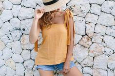 A Pair & A Spare | DIY Shoulder Tie Linen Top