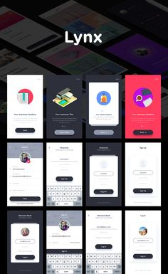 Lynx is a mobile app UI kit created using Sketch app, to help you kick start your next mobile app design project. With the help of Lynx UI Kit,… Ios App Design, Mobile App Design, Android App Design, Iphone App Design, Mobile App Ui, Android Ui, Login Design, Ui Design Tutorial, Application Ui Design