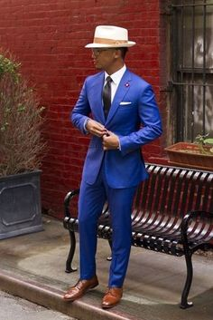 2017 Terno Custom Made Classic Royal Groom Tuxedos Cheap Slim Fit Notched Lapel Vintage Wedding Prom Men Suits (jacket+pants) Dress Shirt And Tie, Blue Dress Pants, Suit And Tie, Pant Shirt, Sharp Dressed Man, Well Dressed Men, Traje Slim Fit, Terno Slim Fit, Gentleman Mode