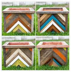 DIY chevron planter boxes - since I do not have a green thumb, however...I am loving these for storage cubes (maybe for toys downstairs) and I love the idea of casters/wheels on them for easy mobility! :)