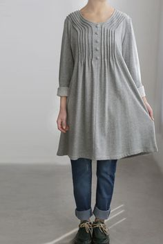 Cotton accordion pleats dress/ cotton Long t shirt/ by MaLieb, $70.00