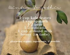 Winter smoothie with avocado and pear  (www.ChefBrandy.com)