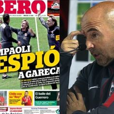 El entrenador de Chile, Jorge Sampaoli, negó mandara a Cristian Leiva a espiar a la Selección Peruana, no obstante, hubo contradicción en sus palabras.  La portada de este lunes de LÍBERO fue reproducida por los principales medios de Chile. Octubre 12, 2015.