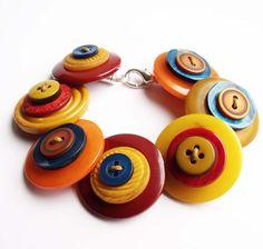 Large button bracelet, handmade, chunky, quirky, statement, mustard, blue, yellow, orange