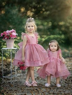 Simple Cute Tulle Flower Girl Dresses, Sleeveless Popular Little Girl Dresses, Pink Flower Girl Dresses, Little Girl Dresses, Girls Dresses, Toddler Dress, Baby Dress, Hijab Style, Super Cute Dresses, Kids Outfits, Kids Fashion