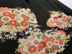 Japanese Vintage Kimono Silk Black Tomesode Embroidered Flower P061604   eBay
