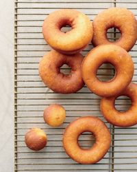 These delicately spiced raised doughnuts have a wonderful bread-like aroma and a light, airy texture.