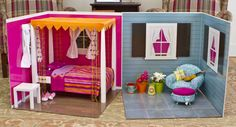 doll furniture This is for a AG dolll. but would love to do this for my Granddaughters Barbie's. I hope to send her a room every other month filled with furniture, fashion and accessori American Girl House, American Girl Doll Room, American Girl Crafts, American Girls, Cardboard Dollhouse, Diy Dollhouse, Dollhouse Furniture, Doll Furniture, Diy Ag Dolls