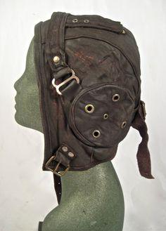 Steampunk aviator hat flight cap tank gir leather distressed by Renegadeicon