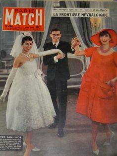 1958 - YSL 4 Dior Paris Match cover with Victoire Doutreleau ! Dior Haute Couture, Ysl, Yves Saint Laurent, Fashion Through The Decades, Dior Dress, Lace Dress, Fashion Artwork, Paris Match, Christian Dior Vintage