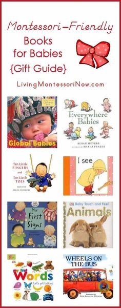 Gift guide for any time of year with favorite Montessori-friendly books for babies (books with photos or realistic drawings)