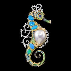 Seahorse pendant of 18K yellow and white gold, baroque pearl, opals, diamonds, blue diamonds, blue sapphires and demantoid garnets; Master Exclusive, Russian.