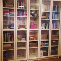 """""""My customised ikea Billy bookcase with @pipstudiocom wallpaper."""""""