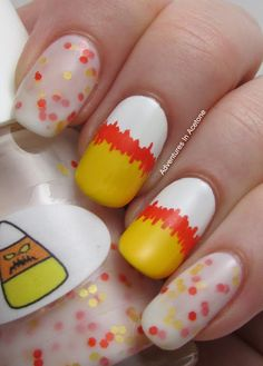 Tutorial Tuesday: Abstract Candy Corn Nail Art! - Adventures In Acetone #nailart
