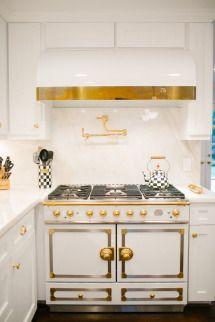 Brass and white kitchen hood