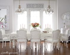 Elegant All White Formal Dining Room home white style formal decorate luxury rich dining room