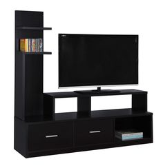 Tv Stand - / Cappuccino With A Display Tower. Bring your entertainment center into the century with this modern, thick paneled TV stand and display tower in a sophisticated cappuccino on all sides. Contemporary Tv Stands, Tv Stand Cabinet, Television Stands, Cool Tv Stands, Tv Cabinets, Particle Board, Foyer, Modern Design, Indoor