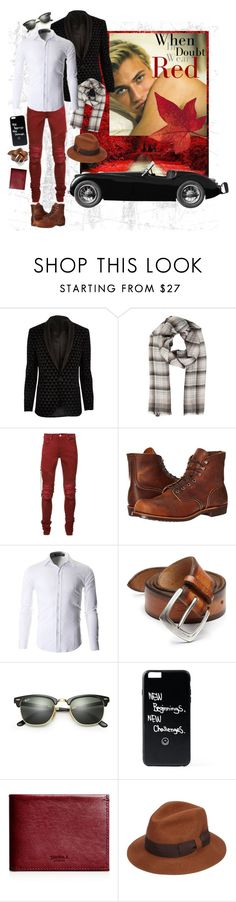 """""""red leaves"""" by whimsical-angst ❤ liked on Polyvore featuring River Island, Loro Piana, AMIRI, Red Wing, Orciani, Ray-Ban, Shinola, Paul Smith, blackandwhite and colorful"""