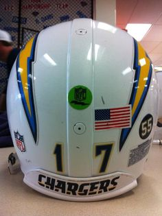 Junior Seau's #55 Decal placed on San Diego Charger helmets