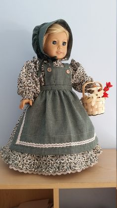 1800s Prairie style ruffled Dress with Apron and Bonnet. 5-piece set by SweetDollofMine on Etsy  $40.00