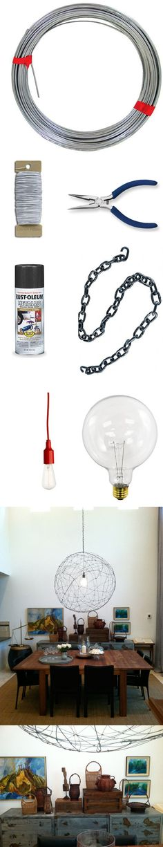 Lámpara hecha con alambres