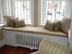 radiator cover seat; need something like this for the radiator/bay window seat in my dining room.  My cats would LOVE it!