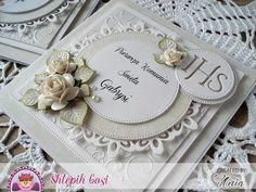 Witajcie :)     U mnie pomału zaczyna się sezon komunijny.   Zaproszenia utrzymane są w delikatnej kolorystyce beżu i bieli.   Wykorzystała... Communion Invitations, Wedding Invitations, Baptism Gifts, First Communion, Handmade Decorations, Cute Cards, Wedding Cards, Birthday Cards, Paper Crafts