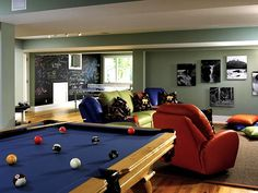teen game room ideas | fabrics, and fewer or smaller tables make this family room teen ...