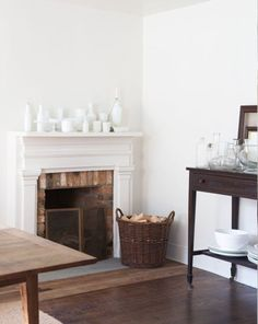 white on white mantel