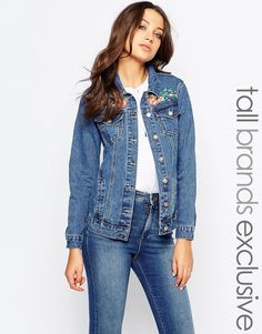 Image 1 ofGlamorous Tall Denim Jacket With Bird And Floral Embroidery