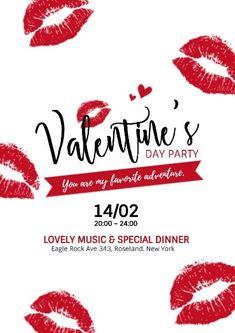 Valentine's Day Poster, Party Poster, Valentines Design, Valentines Day Party, Poster Design Online, Graphic Design Tips, App Design, Design Ideas, Valentine Poster