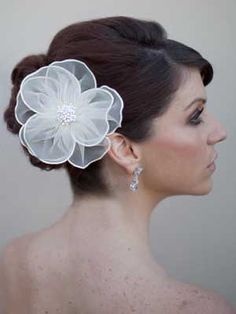 Organza Hair Flower by Hair Comes the Bride  www.HairComestheBride.com
