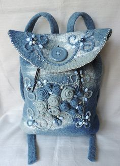 Wool backpack with roses, Felted backpack