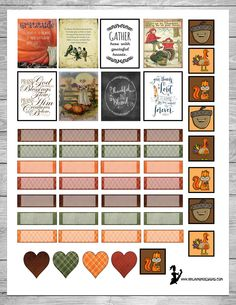Free Thanksgiving Themed Printable Planner Stickers