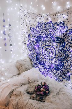 The Lavender Mandala Tapestry can set the mood in any room with its pretty purple designs against a crisp white background! Get the Lavender Mandala Tapestry only at Tapestry Girls! Purple Tapestry, Room Tapestry, Mandala Tapestry, Tapestry Beach, Wall Tapestries, Teen Room Decor, Room Ideas Bedroom, Bedroom Bed, Master Bedroom